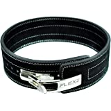 FlexzFitness Leather Power Lifting Belt for Men & Women Lower Back Support for Weightlifting