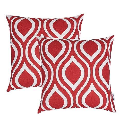 TIDWIACE® Rojo Algodón Lino Fundas de cojín Almohada Cuadrado Decorativa para Camas sofás sillas 18 * 18 Pulgada, 45x45cm Juego de 2,Soltar