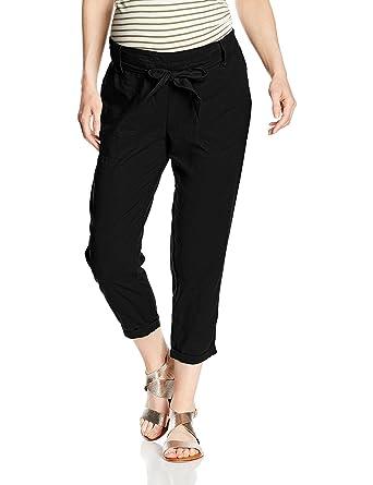 7d8353e38e675 New Look Maternity Women's Lolly Linen Crop Maternity Trousers, Black,12