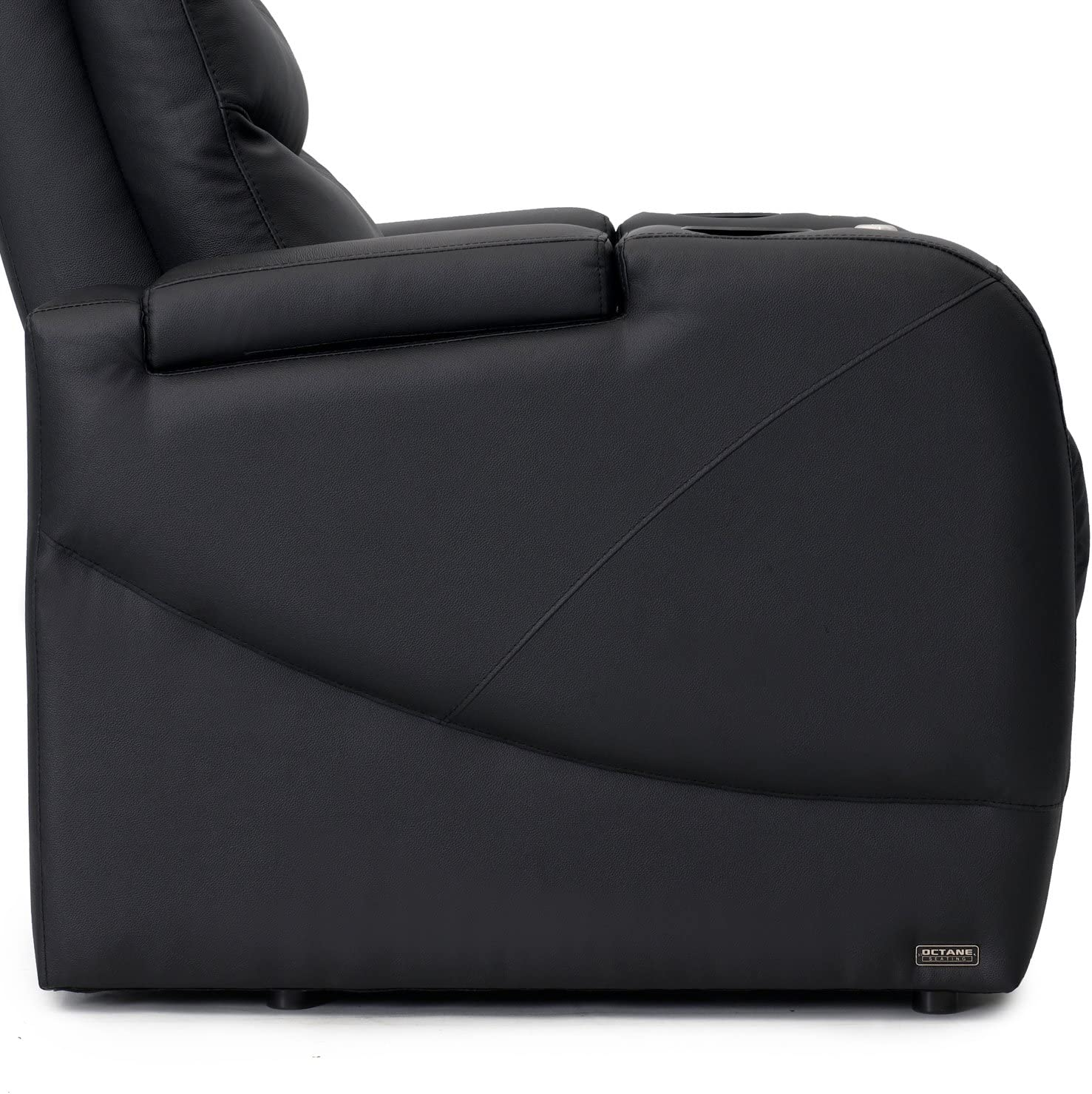 Octane Stealth XL450 Row of 3 Seats Straight Row in Black Leather with Power Recline