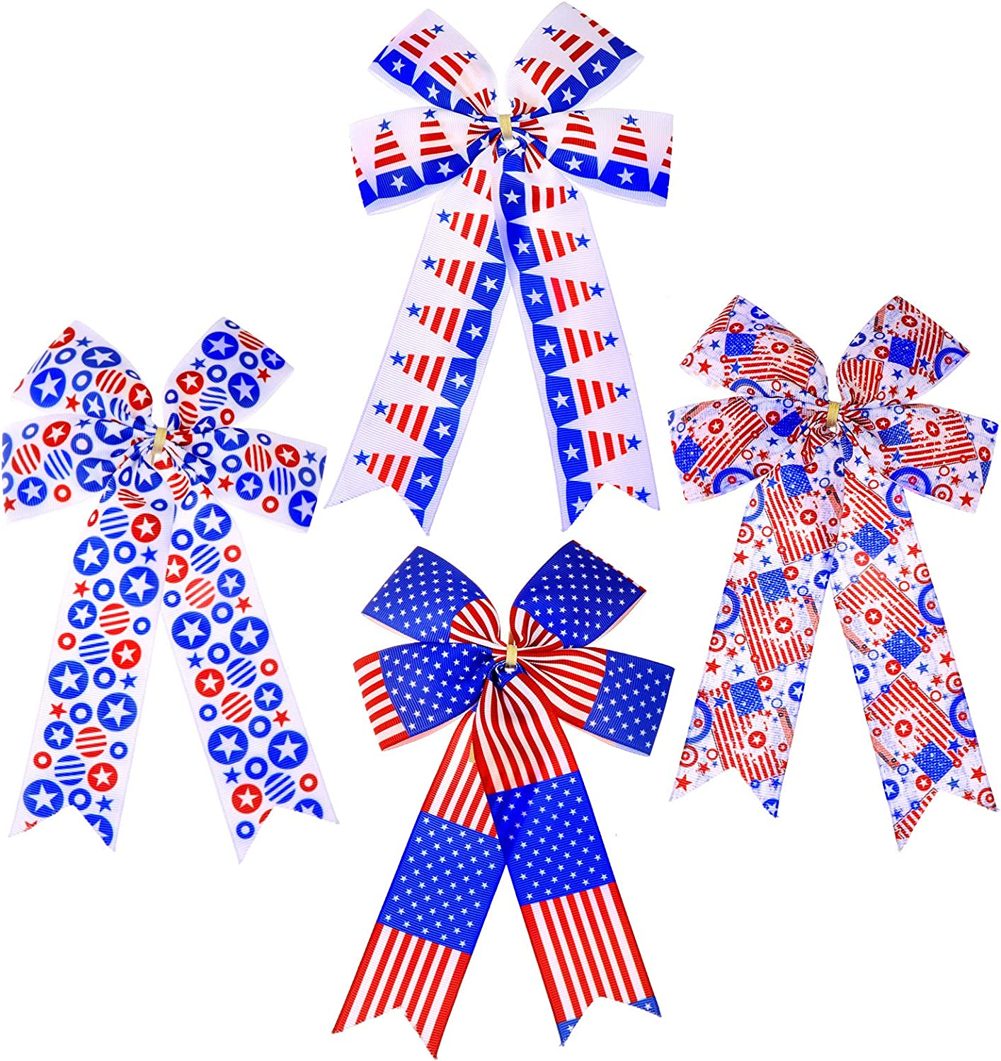 4 Pieces Patriotic Bows Red White and Blue Independent Day Patriotic Decor for Outdoor and Indoor Decorations of 4th of July and Veteran Day