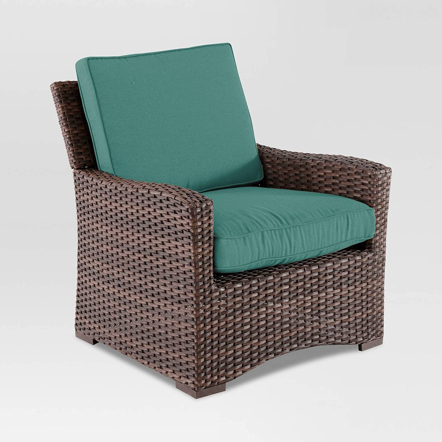 Amazon com halsted wicker patio club chair turquoise garden outdoor