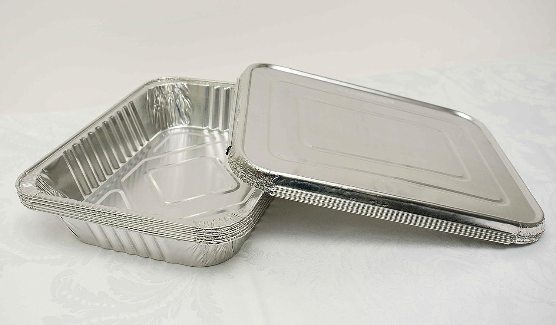 Bandejas desechables de aluminio con tapas para calentar alimentos en fiestas y eventos, plata, 100 x Small Foil Trays: Amazon.es: Jardín