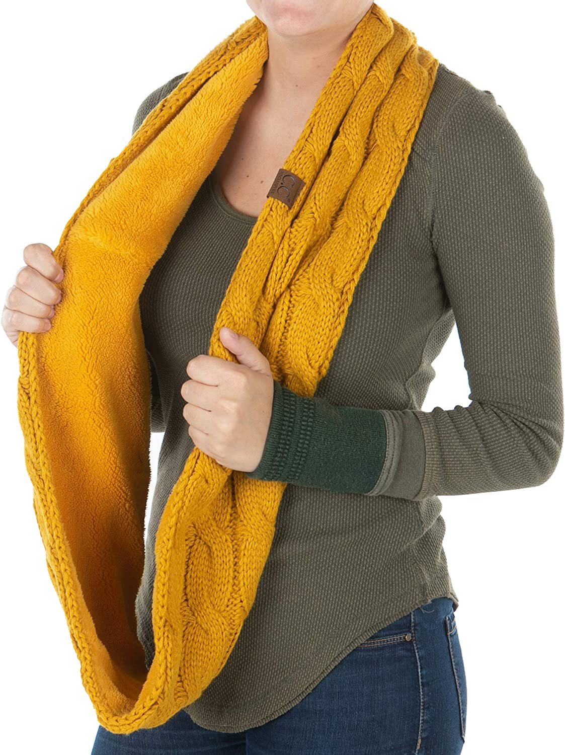 Confetti Charcoal E6-33SF-70 Womens Infinity Scarf Cable Knit Wrap