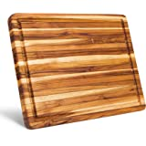 Large Reversible Teak Wood Cutting Board [18x14x1.25 Inch] | Carving Board with Juice Groove | Edge Grain Chopping Block…