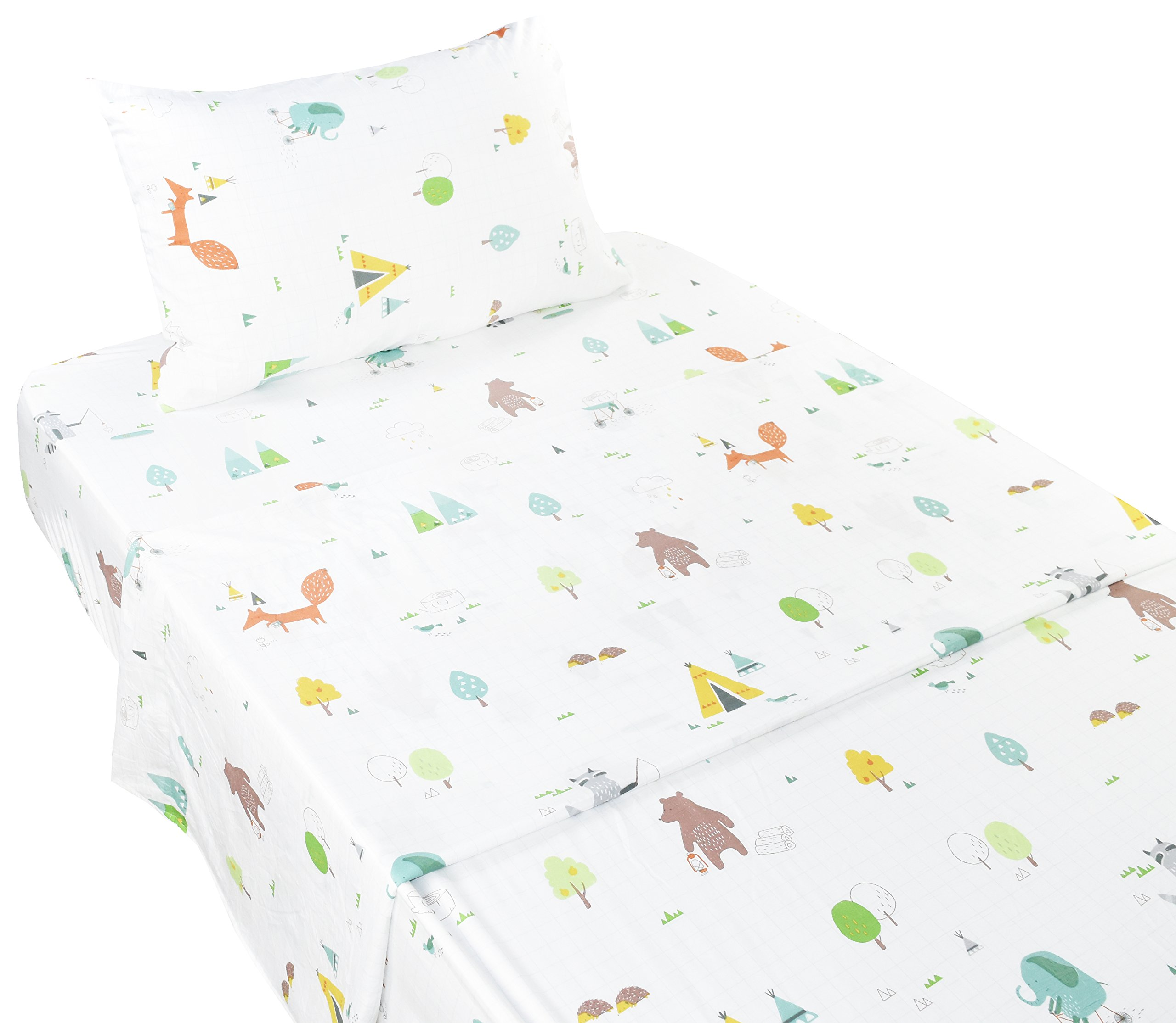 Scientific Sleep Forest Fox Elephant Animals Soft Sheets Set Twin, 100% Microfiber Polyester Bedding Sheet Set for Girls Gift (1, Twin)