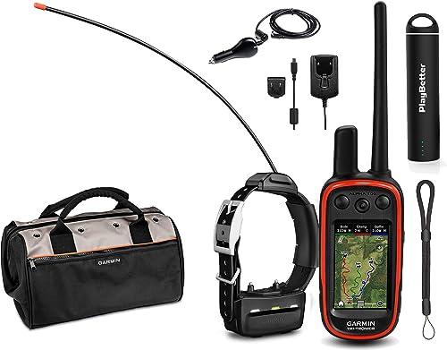 Garmin Alpha 100 TT15 Combo 1 Collar HuntBetter Bundle w TT15 Dog GPS Collars, PlayBetter Portable Charger Tether Track Train Dog GPS, Field Bag Black
