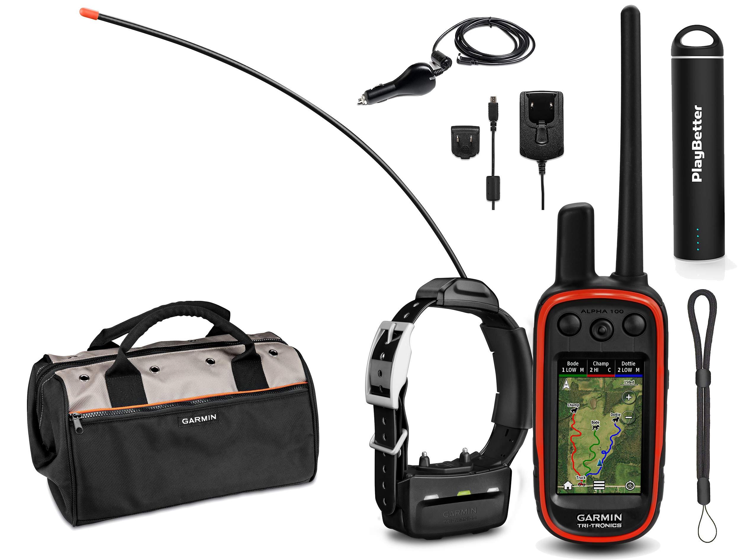 Garmin Alpha 100 TT15 Combo (1 Collar) HuntBetter Bundle w/ TT15 Dog GPS Collars, PlayBetter Portable Charger & Tether | Track & Train Dog GPS, Field Bag (Black) by PlayBetter