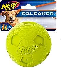 Nerf Dog Pelota Caucho con Sonido Soccer Grande, Colores Varios