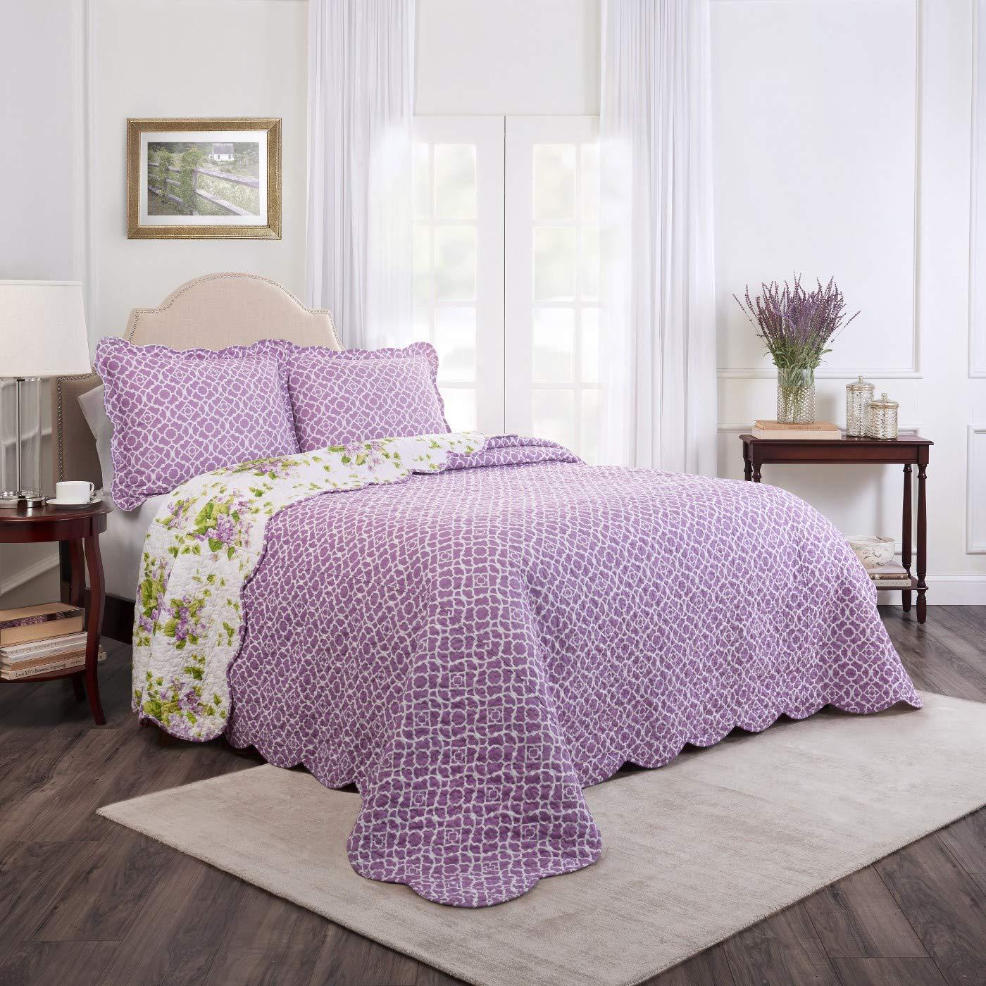 WAVERLY 3-Piece Reversible Quilt Set 100/% Cotton Size Lilac Dreams Full//Queen Color Violet New