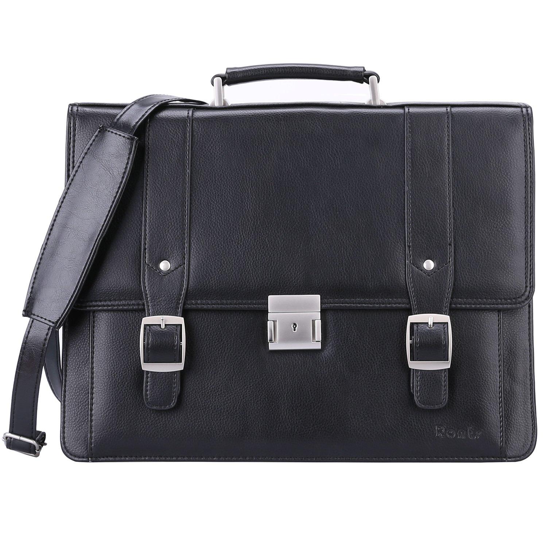 Ronts Men's PU Leather Briefcase Messenger Bag 15 Inch Macbook Laptop Shoulder Bag 015