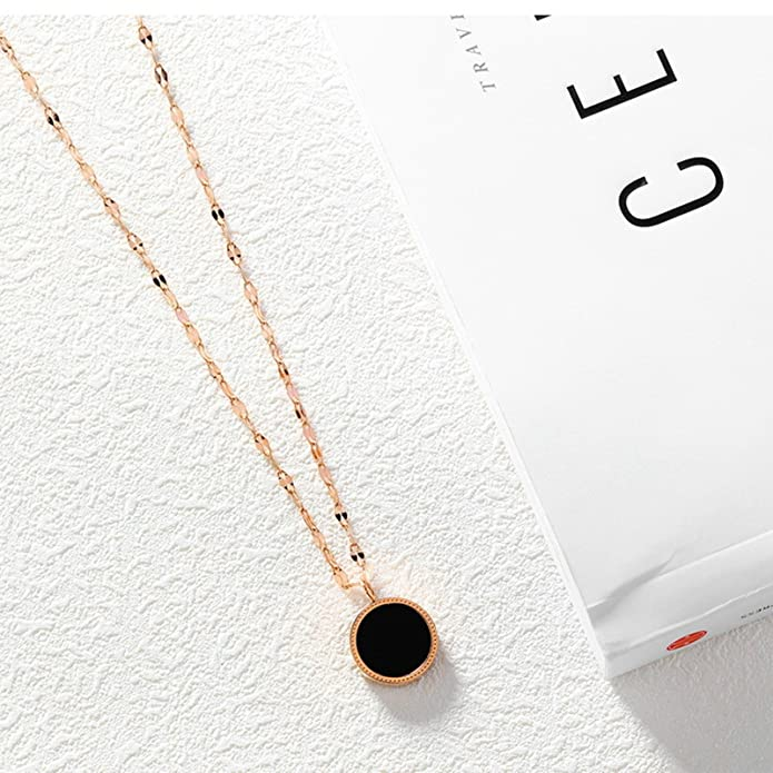 Aooaz Stainless Steel Necklace For Women Black White Round 3 Size Pendant Necklace 42Cm Chain Novelty Jewelry Gift
