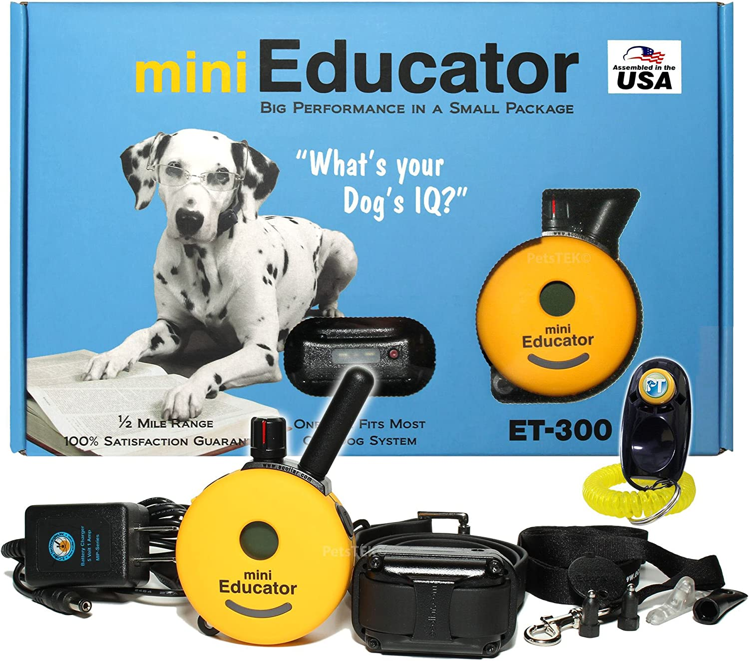 Bundle of 2 Items – E-Collar – ET-300 – 1 2 Mile Remote Waterproof Trainer Mini Educator – Static, Vibration and Sound Stimulation Collar With PetsTEK Dog Training Clicker Training Kit