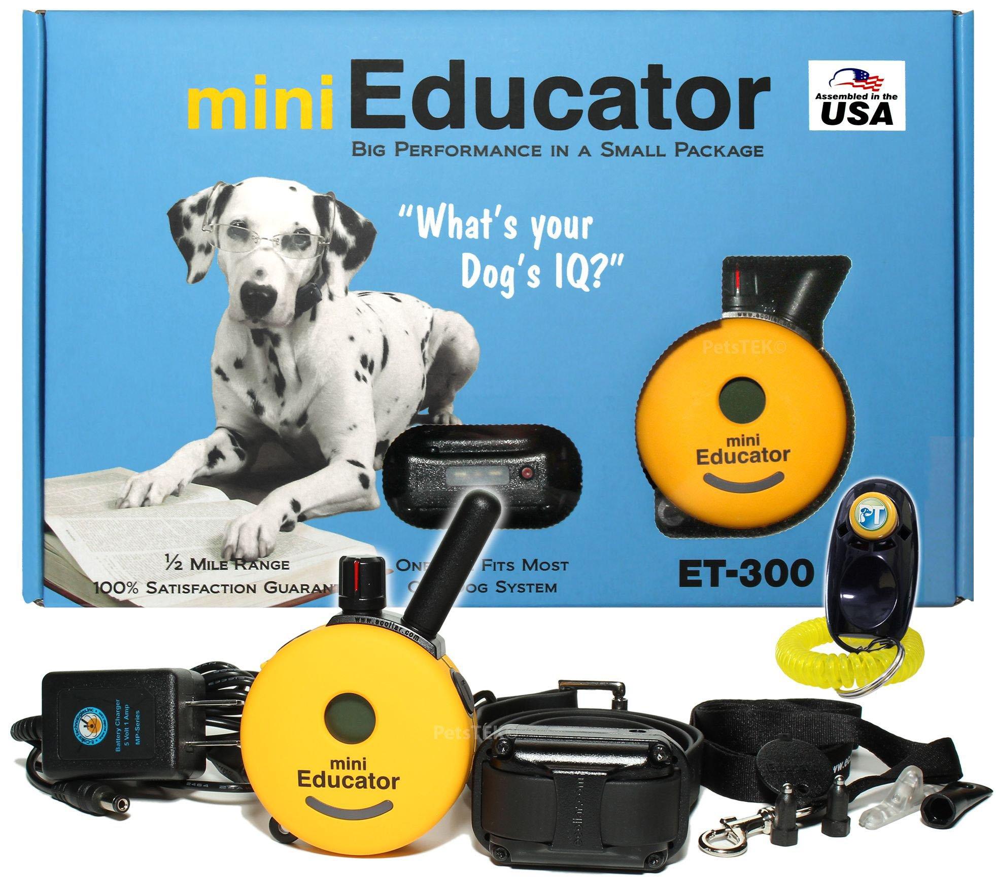 Bundle of 2 Items - E-Collar - ET-300 - 1/2 Mile Remote Waterproof Trainer Mini Educator - Static, Vibration and Sound Stimulation Collar With PetsTEK Dog Training Clicker Training Kit by Mini Educator