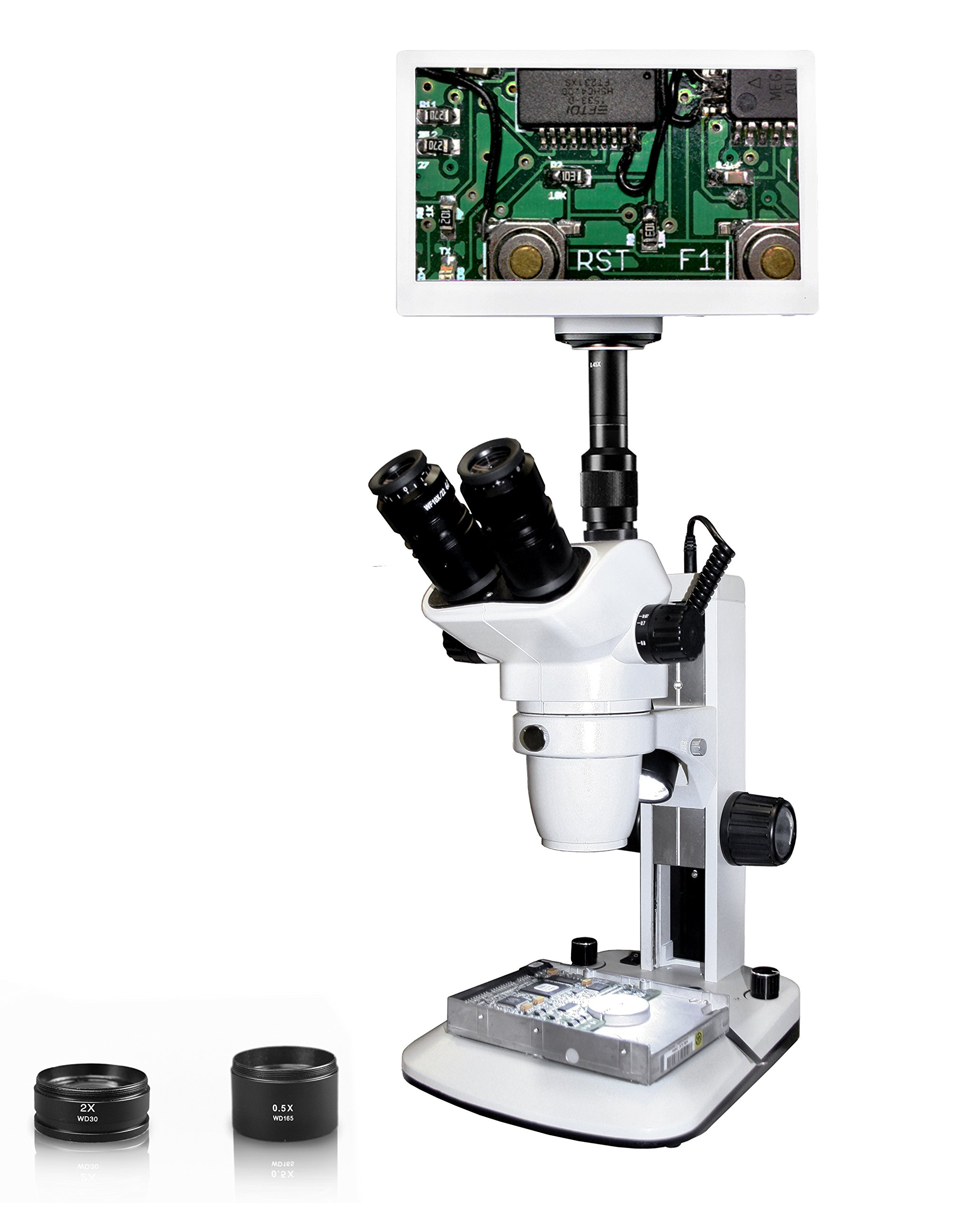 "Vision Scientific VMS0006-TZ-RET11.6 Trinocular Zoom Stereo Microscope, 10x WF Eyepiece, 0.67x—4.5x Zoom, 3.3x—90x Magnification, 0.5x & 2x Aux Lens, LED Light, 11.6"" Retina HD Display w/ 6MP Camera"