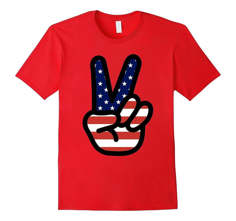 American Flag Big Peace Sign T-Shirt, Patriotic Tee 4th July-BN