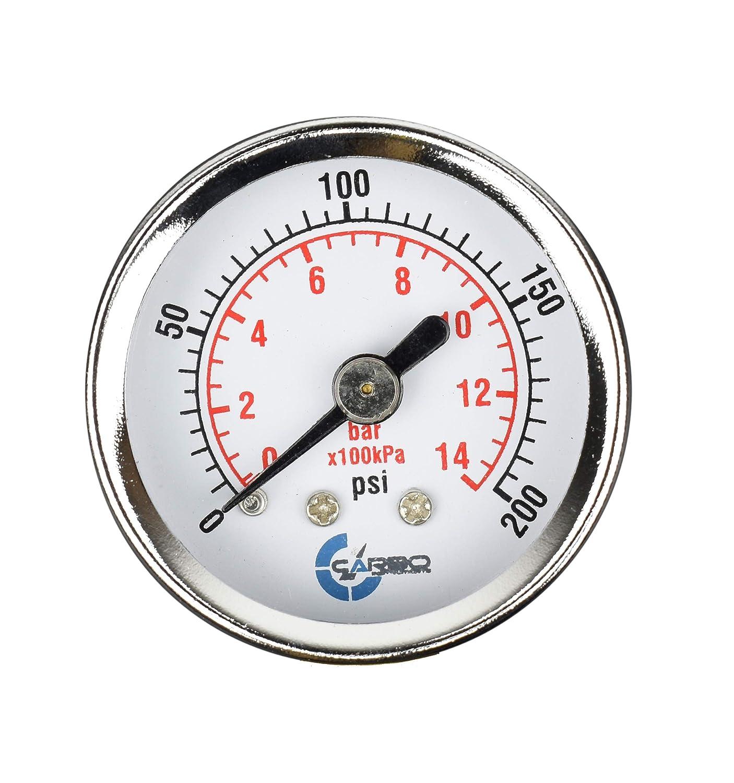 0-200 psi//kPa Back Mount 1//8 NPT Dry Chrome Plated Steel Case CARBO Instruments 1-1//2 Pressure Gauge