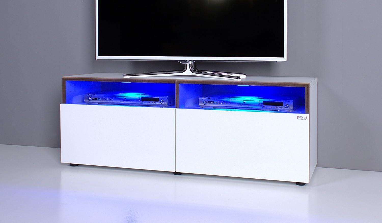 Lowboard led  TV Bank / Lowboard NOOMO weiß / weiß Hochglanz inkl. RGB-LED ...