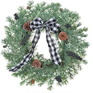 RED DECO Christmas Wreaths for Front Door, 22 Inch Artificial Rustic Pine Wreath for Farmhouse Indoor Outdoor Windows Wall Decor, Winter Christmas Holiday Ornaments