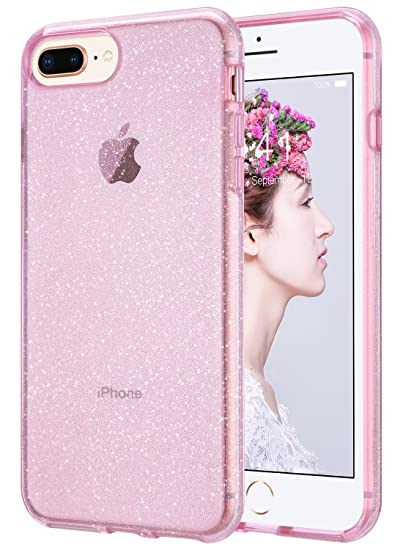 wholesale dealer 30e79 2b93e ULAK Clear Glitter Case for iPhone 8 Plus, iPhone 7 Plus Clear Shock  Absorption Bumper TPU Protective Cover Case for Apple iPhone 7 Plus/iPhone  8 Plus ...