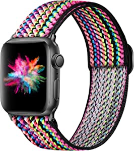 Ouwegaga Adjustable Elastic Bands Compatible for Apple Watch Band 38mm 40mm iWatch SE and Series 6 5 4 3 2 1 Fashion Cute Soft Stretchy Loop Woven Fabric Wristband for Women Men Colorful Rope