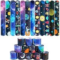 Lorfancy 48 Pcs Space Slap Bracelets Space Toys with Planet Design Kids Bracelets Snap Bands Class Prize Outer Space…