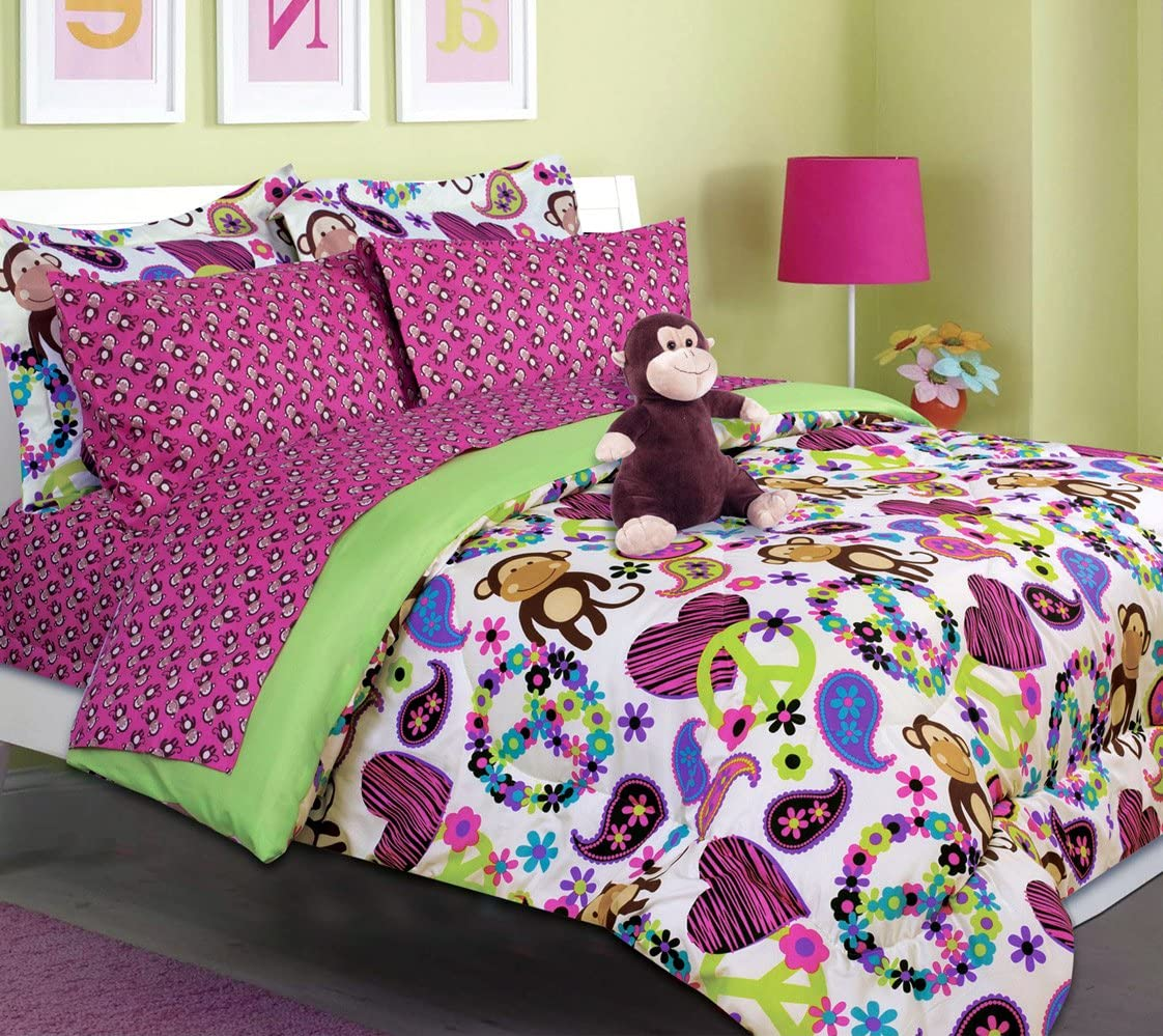 Girls Kids Bedding-Fabian Monkey Tween Teen Dream Bed in A Bag. Queen Size Comforter Set, Sheet Set and Plush Toy Included-Peace, Hearts-Hot Pink, Turquoise Blue, Purple, Black and White
