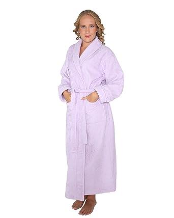 f1a61fb03f2a8 Arus Optimal - Peignoir de bain en éponge un col châle extra-long pour femme homme  100% Coton Tissu bouclette doux Robe de chambre  Amazon.fr  Vêtements et ...