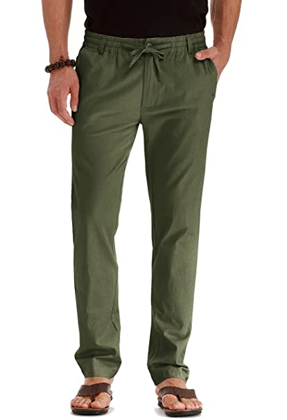 19463aa524bc Mr.Zhang Men s Drawstring Casual Beach Trousers Linen Summer Pants Army  Green-US 28
