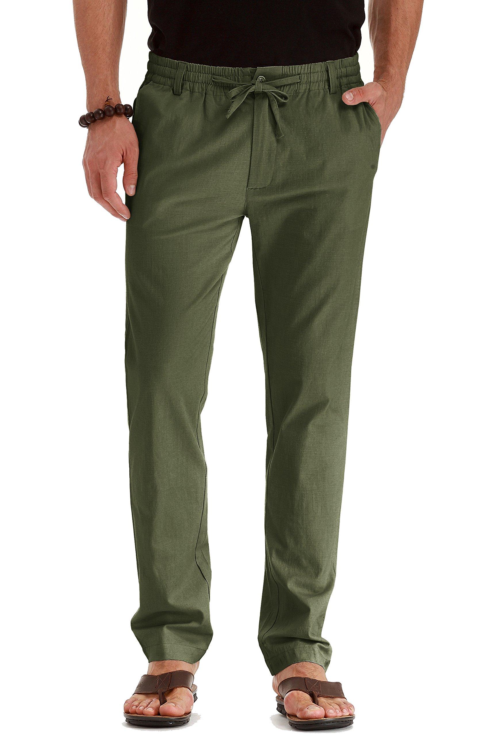 Mr.Zhang Men's Drawstring Casual Beach Trousers Linen Summer Pants Army Green-US 40