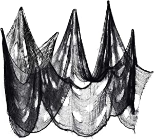 T-Antrix Halloween Creepy Cloth 8 Yards x 30 Inches Extra Large Size Party Decor Drape Doorways Entryways Windows Cover Gauze Creepy Spooky Halloween Decorations Black…