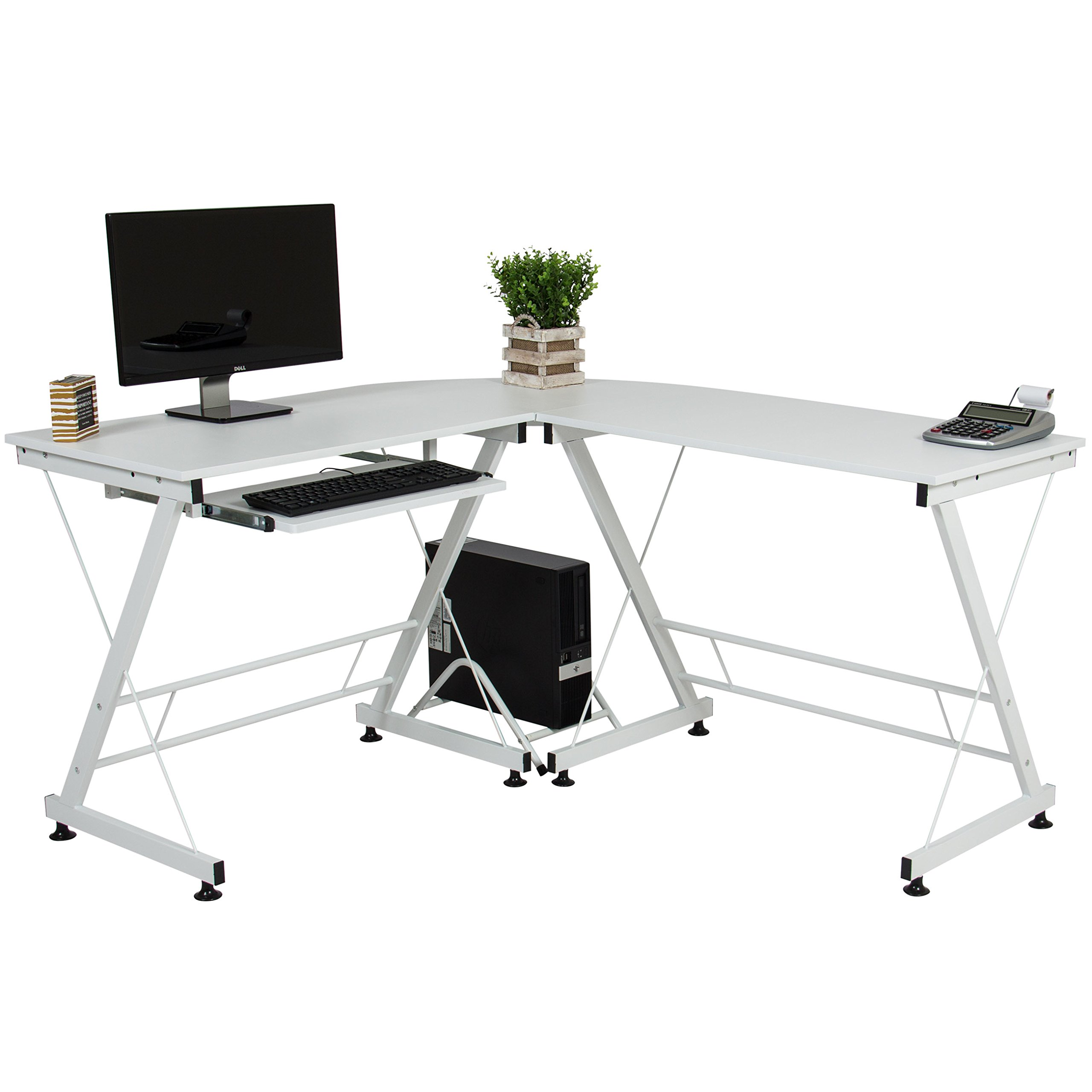 Best Choice Products Wood L-Shape Corner Computer Desk PC Laptop Table Workstation Home Office White by Best Choice Products