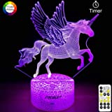 Unicorn Night Light for Kids,Dimmable LED Nightlight Bedside Lamp,Timer,7 Colors Changing,Touch&Remote Control,Best…