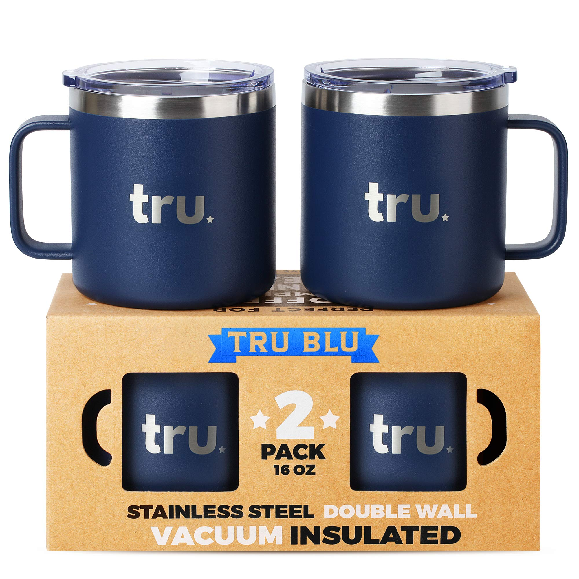 Large Camping Mugs with Lids 16oz, Set of 2 Vacuum Insulated Travel Cups, Stainless Steel Metal Mugs - Outdoor, RV, Hiking, Boating, Portable, BPA Free