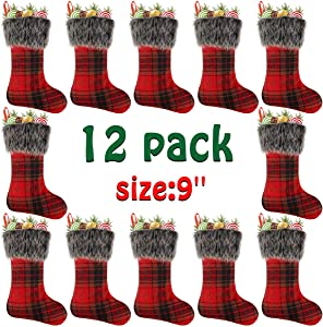 "Libay 12 Pack 9"" Mini Christmas Stockings Set, Small Rustic Felt Red Plaid Xmas Stockings Gift Card Bags Holders, Christmas Tree Decorations Xmas Party Ornament"