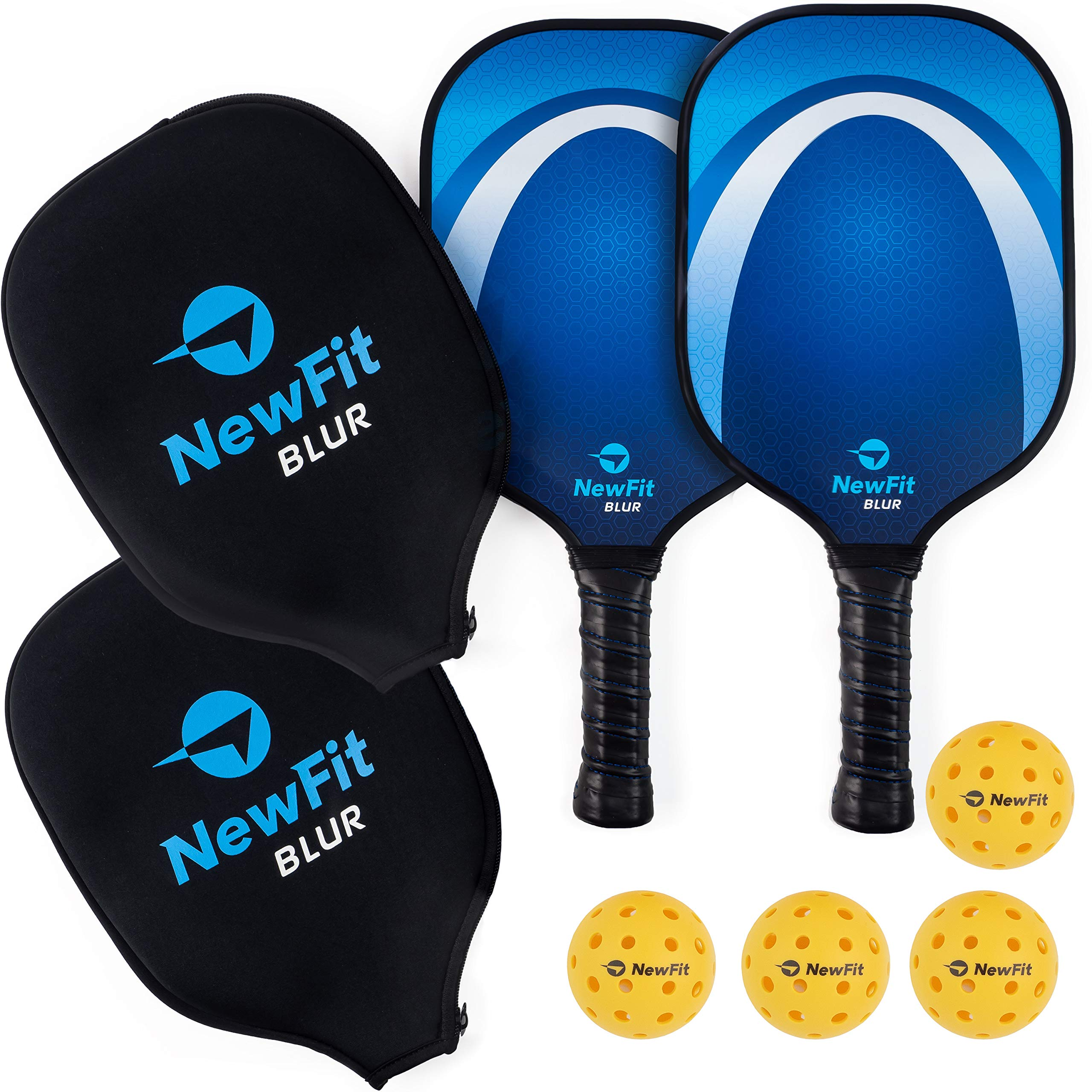 NewFit Blur Pickleball Paddle | USAPA Approved | Graphite Face & Polymer Core for a Quiet and Light Racket | 2 Paddles Set w/ 4 Balls (Blue Set)