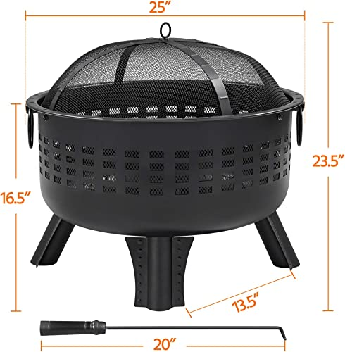 YAHEETECH Fire Pit 25in Heavy Duty Iron Firepit Steel Round Fire Bowl Wood Charcoal Burning