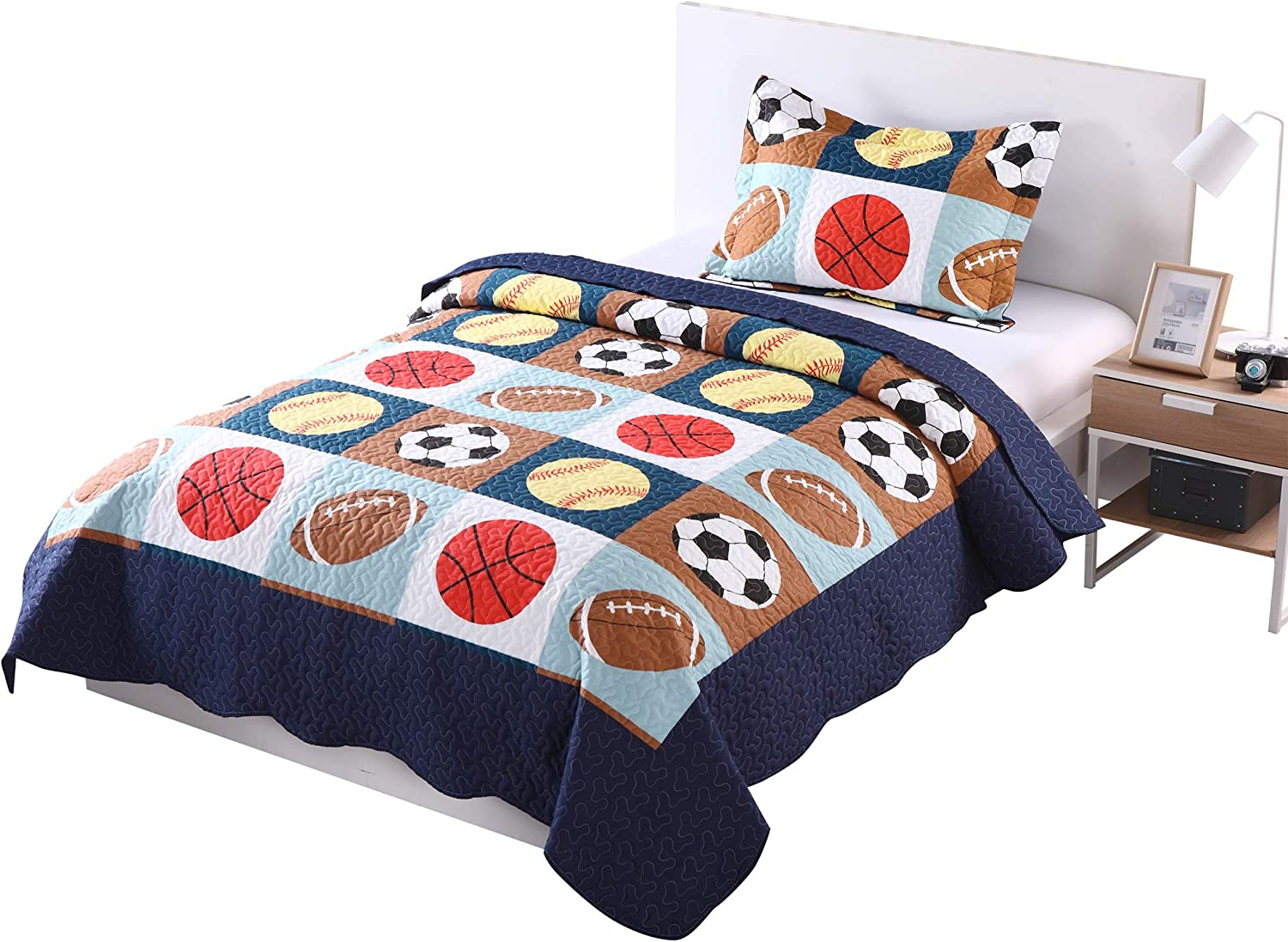 Marcielo 2 Piece Kids Bedspread Quilts Set Throw Blanket For Teens Boys Bed Printed Bedding Coverlet Twin Size Blue Basketball Football Sports American Football Twin Kitchen Dining