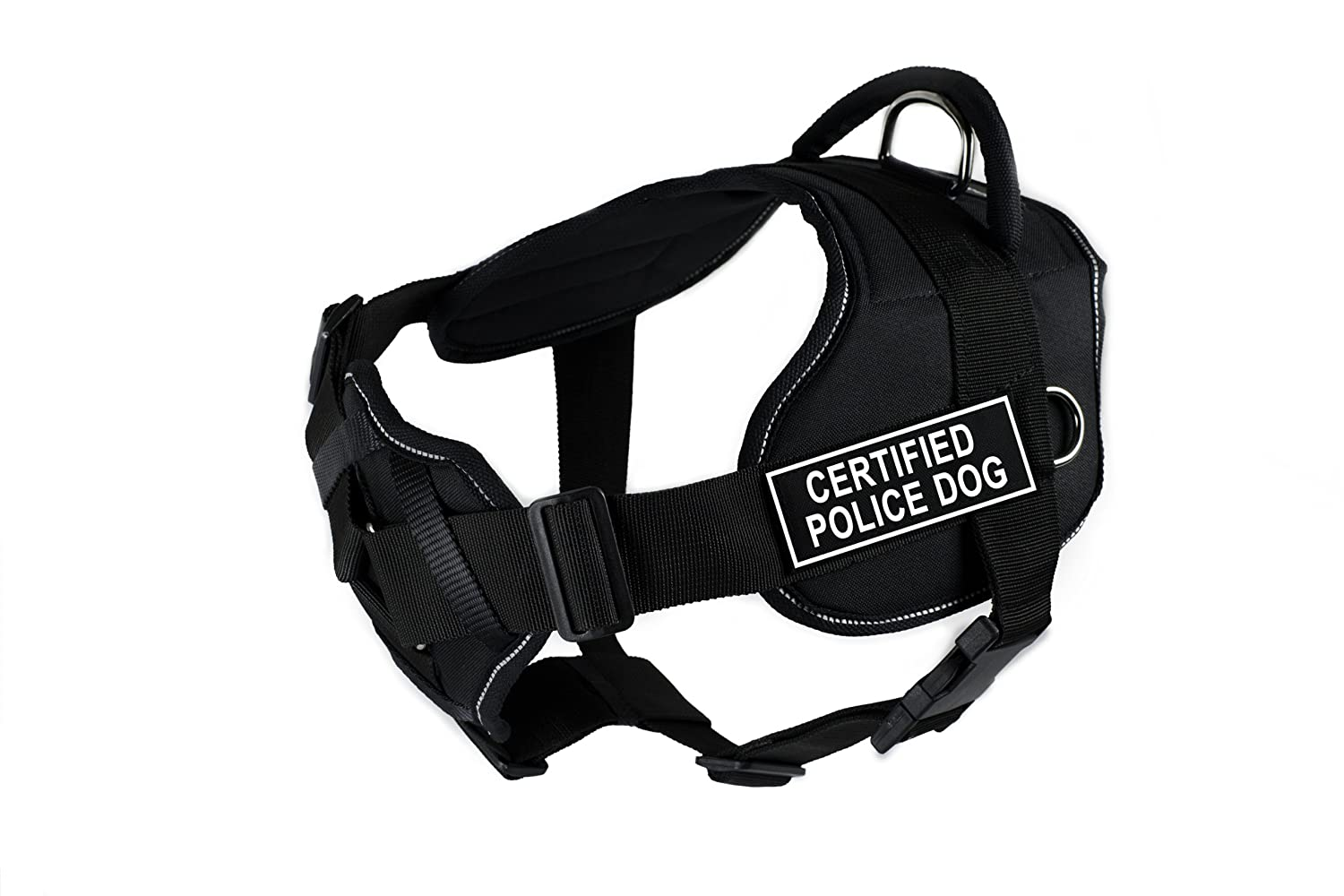 Dean & Tyler Fun Harness with Padded Chest Piece, Certified Police Dog, Medium, Black with Reflective Trim