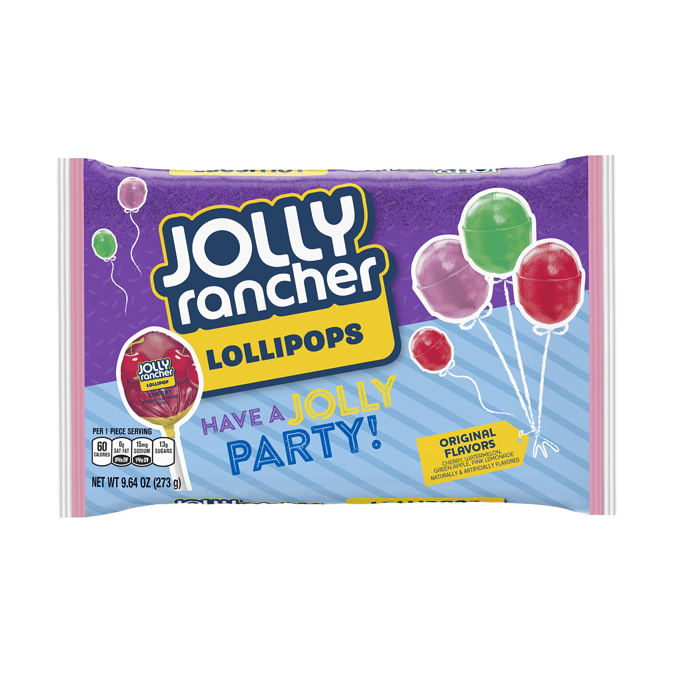 JOLLY RANCHER Birthday Lollipops, Assorted Flavors (Cherry, Watermelon, Green Apple, Pink Lemonade), 9.64 Ounce (Pack of 12) by Jolly Rancher