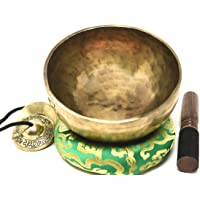 Root and Om Chakra C Note Anitque Hand Hammered Tibetan Meditation Singing Bowl 10 Inches - Yoga Old Bowl By Singing…