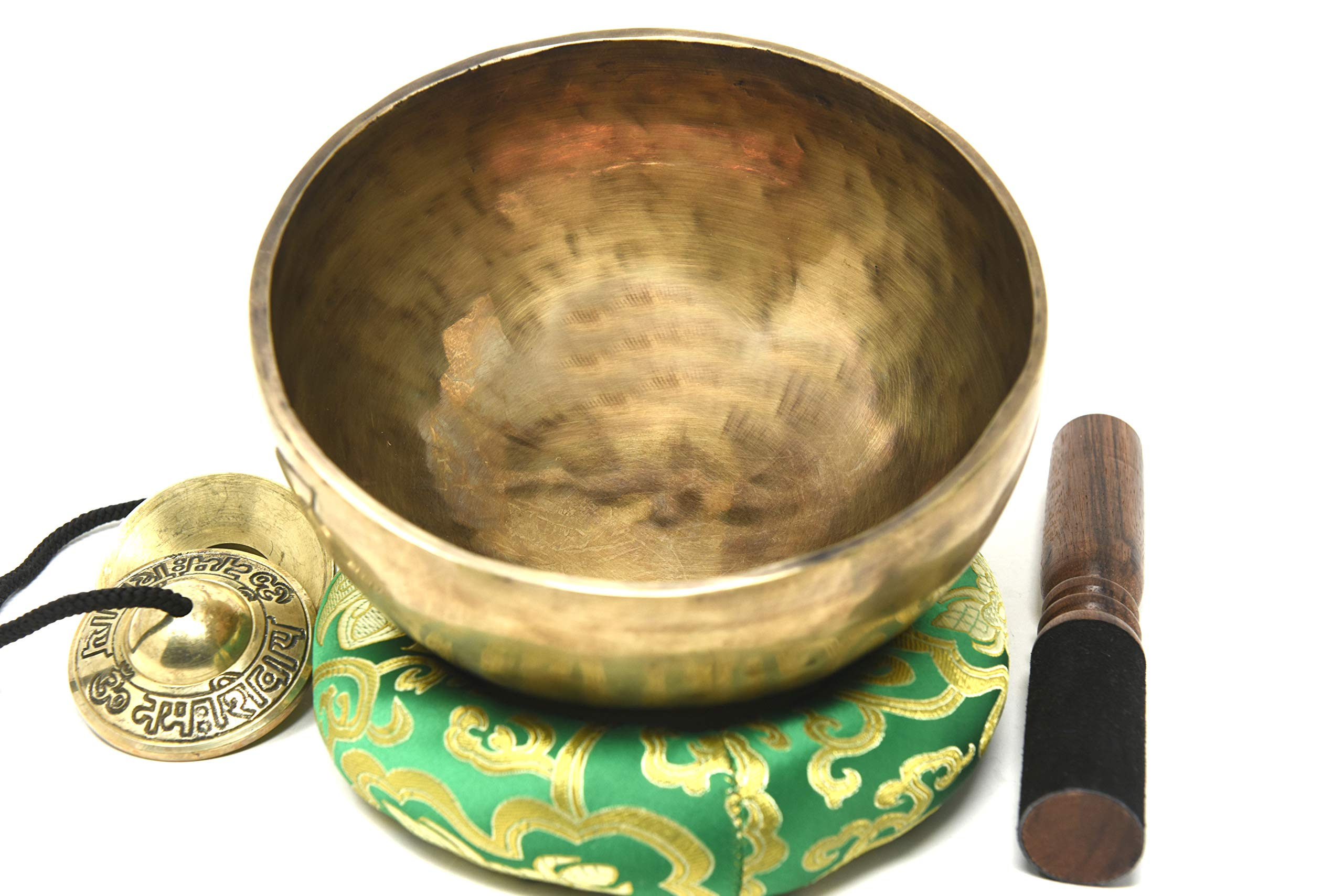 Root and Om Chakra C Note Anitque Hand Hammered Tibetan Meditation Singing Bowl 8 Inches - Yoga Old Bowl By Thamelmart by TM THAMELMART FOR BEAUTIFUL MINDS
