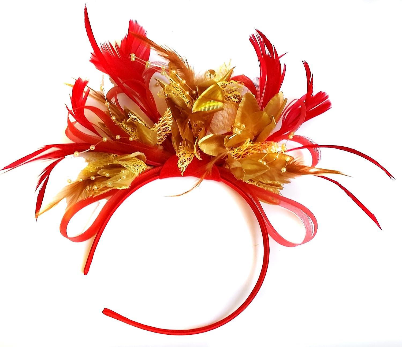 Rouge et Doré plumes Cheveux Serre-tête de mariage avec et Royal Ascot courses pour femme redandgold_hoopmix