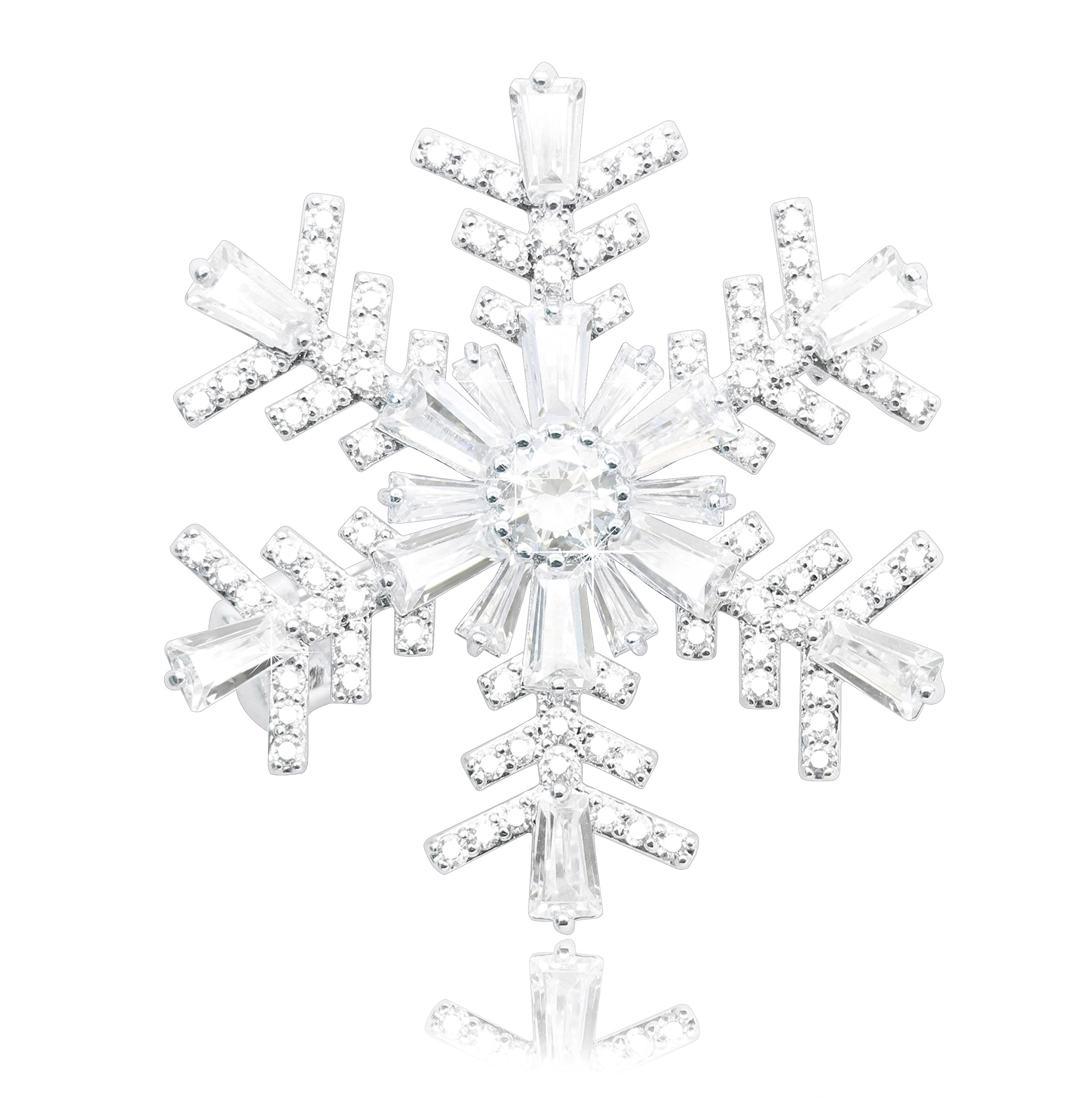 KristLand Wedding Elegant Mother Rose Sun Flower Brooch Pin Snowflakes Full Prong CZ Pendant Double-wear Snowflakes