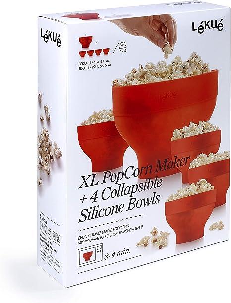 Lékué XL Popcorn - Set para microondas con un molde de silicona y ...