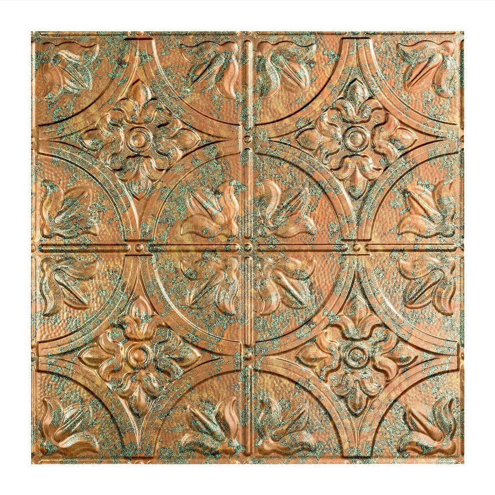 FAS/ÄDE 12X12 Inch Sample Easy Installation Traditional Style//Pattern #2 Copper Fantasy Lay in Ceiling Tile//Ceiling Panel