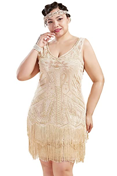 BABEYOND Women\'s Plus Size Flapper Dresses 1920s V Neck Beaded Fringed  Great Gatsby Dress