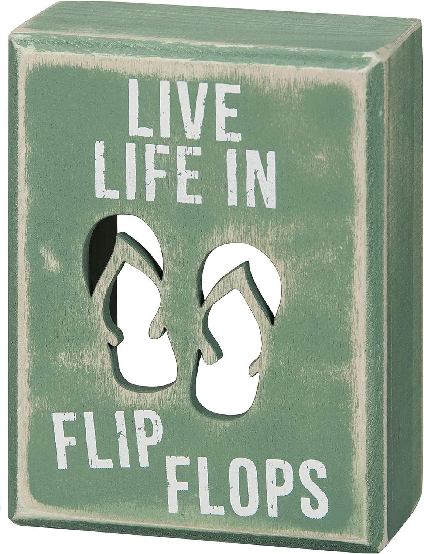 Primitives by Kathy 21005 Beach House Décor Box Sign, 3 x 4-Inches, Flip Flops
