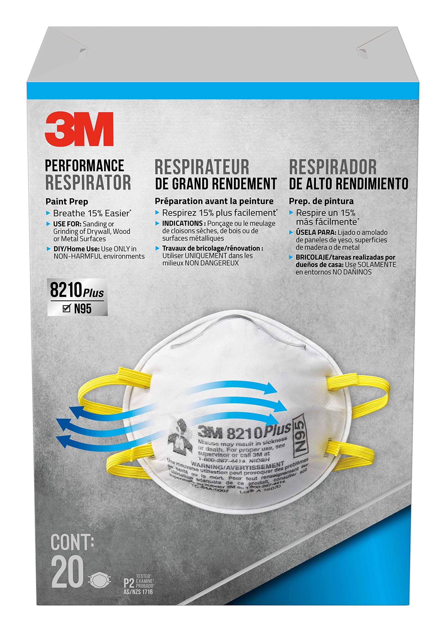 3M 8210PP20-DC Paint Sanding Dust Particulate Respirators, N95, 20-Pack by 3M (Image #1)