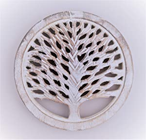 Gifts For Women Wooden Trivets For Hot Pots and Pans Tea Pot Holders Hot Pads Tree of Life Design Modern Farmhouse Kitchen Counter Decor Dia 8'' Inch - Set of 2 (White Wash)